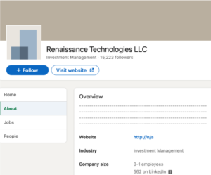 LinkedIn page of the hedge fund
