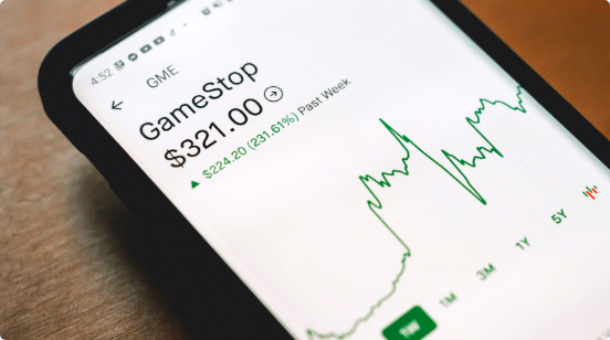 A phone screen displaying the booming Gamestop stock prices during the market mania of January 2021